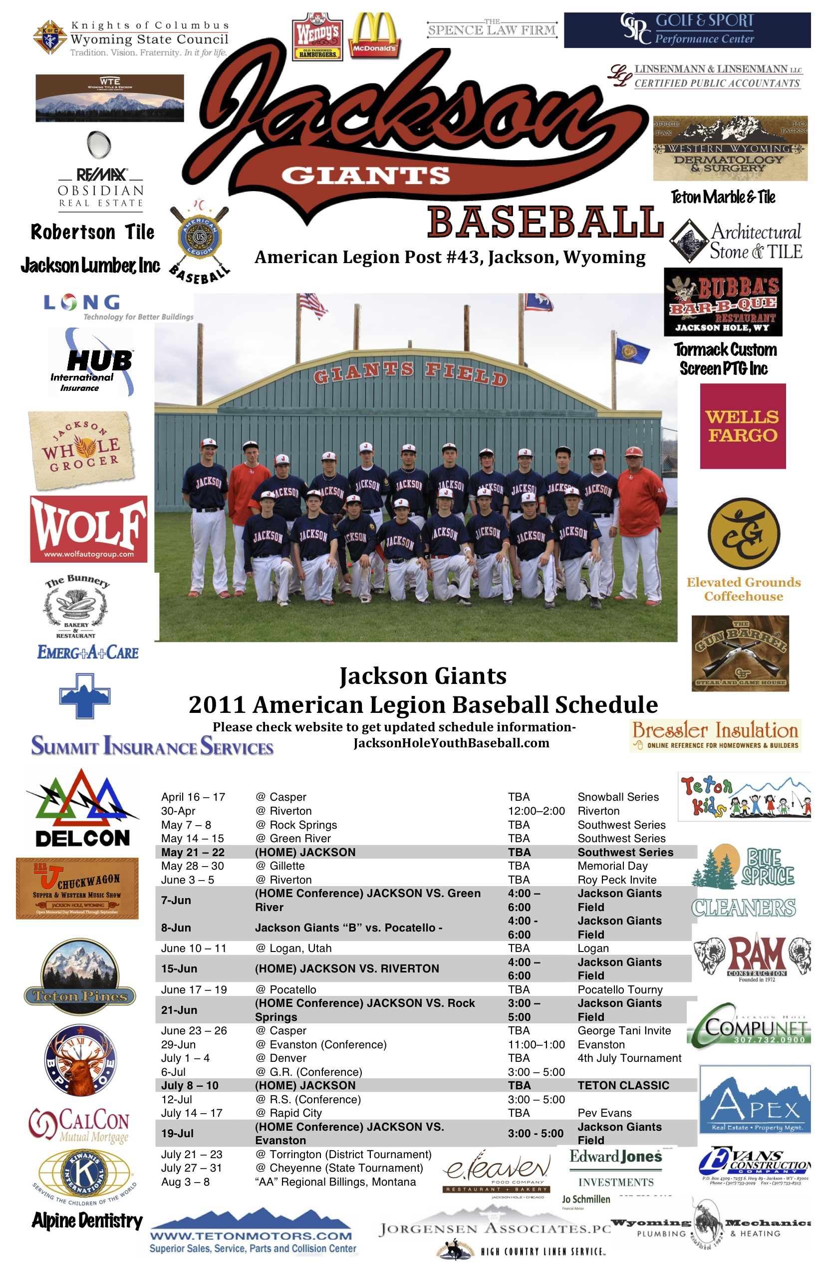 our sponsors jackson hole youth baseball